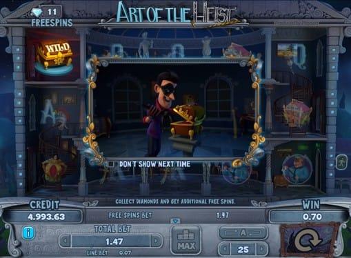 Выпадение дикого символа в игре Art of the Heist