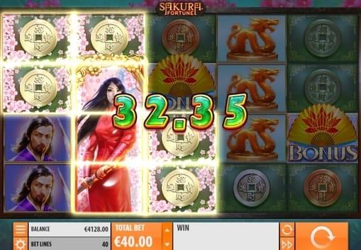 Выигрышная комбинация символов в Sakura Fortune